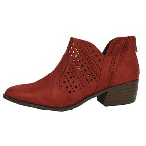 Shoes - Rust Faux Suede Perforated Low Heel Ankle Boot